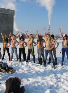 Femen ice tits