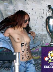 Femen stealing a soccer cup