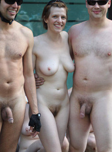 Nudist man with sexy shaved beautiful nudist girlfriend