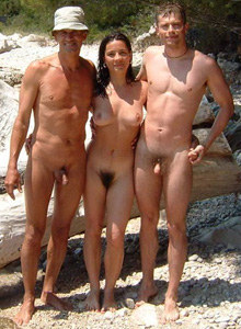 Nudist girl with hairy pussy with dad and boyfriend at the lake side