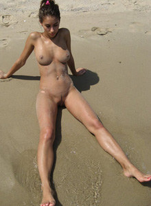 Exciting young nudists on the beach