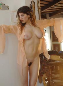 Busty peach goddess Esmeralda showing her hairy slut