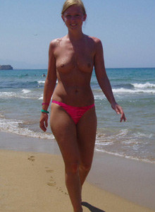 Teen gf Violetta topless at the beach and nude at home