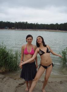 Hairy pussy Emilia in bikini beach fun (part 1)