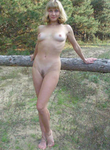 Hairy pussy blonde gf Marina in the forest