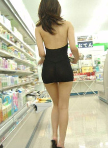 See-through dress of japanese candid girl