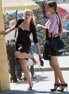 Candid girls at the street in skirts