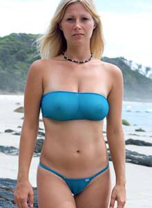 Milf blonde in seethru blue bikini with cameltoe