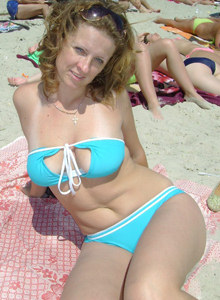 Sexy blonde girlfriends in bikini at the nature