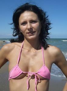 Brunette gf in pink mini bikini