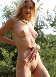 Young blonde gf with huge boobs in blue bikini