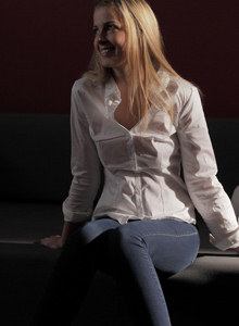Abby - young rich girl in exciting tight blue jeans was nailed