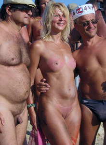 Nudists event at the nude beach