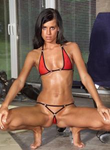 Madison in red micro bikini and cameltoe