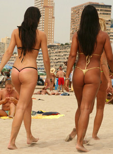 Altea beach girls in sexy micro bikinis