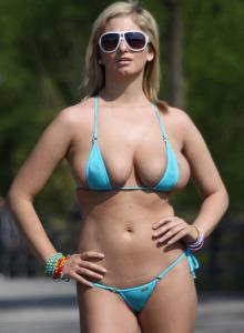 Big boobs Jenny Mcclain is walking public in bikini