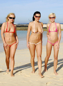 Four micro bikini beach girlfriends