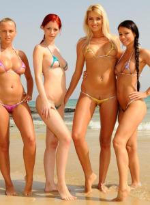 Amazing sexy bikini girls stripping on the beach