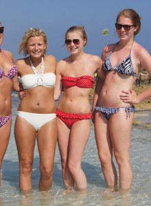 Sexy Rebecca and girlfriends in the sea in sexy bikinis