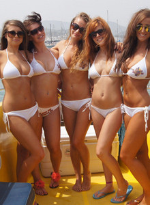 Amazing cuties in white bikini go topless during San Antonio cruise
