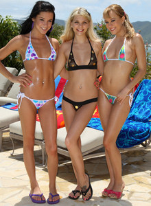 Three girls in bikinis by the pool - Jana Foxy, Blue Angel and Tanner Mayes