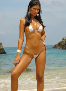 White micro bikini busty beach goddess Karla