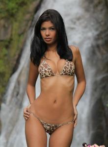 Waterfall topless busty goddess Karla in leopard bikini