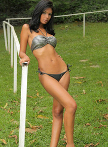 Perfect topless big tits queen Karla is in the backyard in sexy bikini