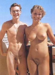 Beach nudist couple