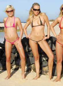 Four micro bikini beach girlfriends