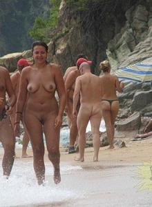 Nude nudists on the beach